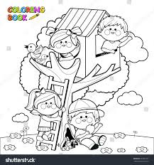 children playing tree house coloring book stock vector 393331231