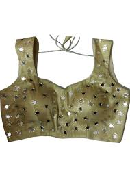 golden blouse sleeveless golden saree blouse with mirror work