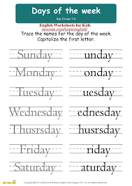 days of the week u2013 english worksheets for kids u2013 mocomi com