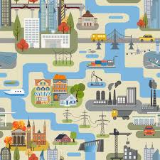 seamless pattern creator great city map creator seamless pattern map stock vector