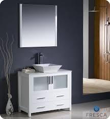 Bathroom Vanity Modern Fresca Torino 36 White Modern Bathroom Vanity With Vessel Sink