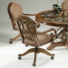 furniture brown wooden dining room chairs with casters and