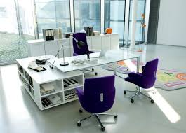 Purple Table L White Themed Cool Home Office Design With Contemporary White L