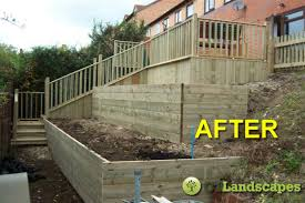 Decking Ideas For Sloping Garden Garden Makeovers Before After Ct Landscapes Decking A Sloping