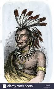 native american chief little turtle of the miami tribe stock photo