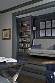grey built in bookcase home office contemporary with blue leather