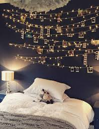 comfortable fairy lights bedroom with home interior design concept