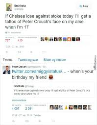 Peter Crouch Meme - chelsea fan smithsta is about to tattoo peter crouch ass by