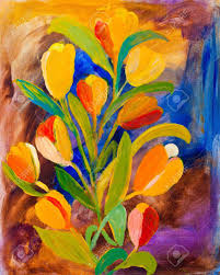 tulips painting in acrylic by uk artist kay gale stock photo