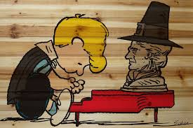 schroeder thanksgiving peanuts wood wall
