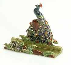 jeweled peacock business card holder bombay all things