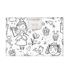 Coupon 40x60 cm Tissu coton à colorier motif princesse