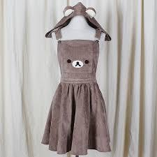 gogo detachable hood bear appliqué jumper dress rilakkuma