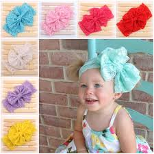 cheap headbands children kids baby lace elastic big large hair bows