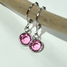 sterling silver earrings sensitive ears swarovski earrings pink earrings small lever back pink