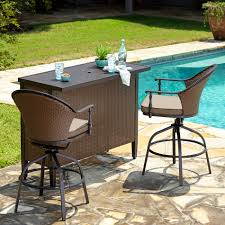 Bar Set Outdoor Patio Furniture by Palm Harbor 3 Piece Outdoor Wicker Bar Set Table Two Stools By Oj