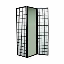 tri fold room divider amazon com ore international 3 panel black finish mirror room