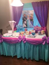 Cloth Table Skirts by Frozen Birthday Party Ideas Candy Buffet Cake Table With Anna