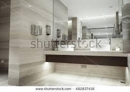contemporary bathroom design using small tiles stock illustration