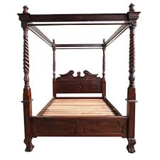 4 post bed antique style bedroom furniture solid mahogany wood chippendale