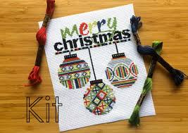 cross stitch kit diy baubles from sprucecraftco on