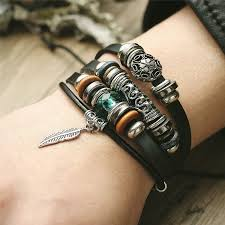 leather bracelet woman images If me design turkish eye leather bracelet for men woman multiple jpg