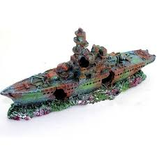 resin damaged navy war boat ship wreck fish tank ornament cave