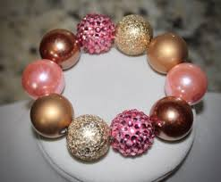 pink beads bracelet images Pink and gold bow necklace bracelet set with gold and pink beads jpg