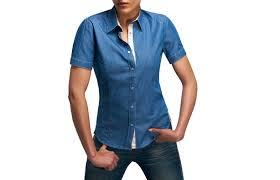 women short sleeves denim shirt flowers lining dress shirts for