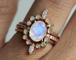 Opal Wedding Rings by Opal Diamond Ring Etsy