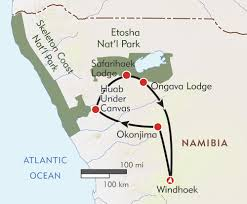 Namibia Map Namibia Giraffe Conservation And Safari Itinerary U0026 Map