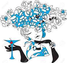 pink martini drawing young female holding martini outline drawing royalty free cliparts