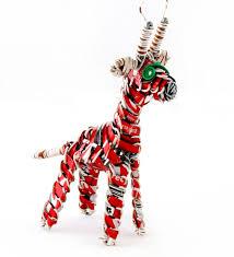 set 2 recycled can giraffe ornaments swahili modern