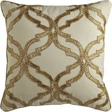 gold beaded geometric ivory pillow pier 1 imports