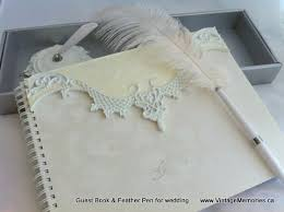 guest book and pen vintage memories for wedding