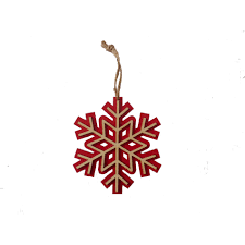 donner blitzen 5 5 wood snowflake ornament