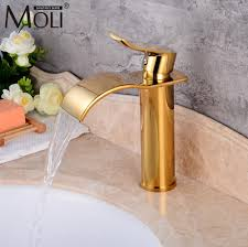 luxury waterfall gold crane bathroom sink faucet and cold