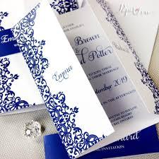 royal blue gatefold personalised wedding day invitation with band
