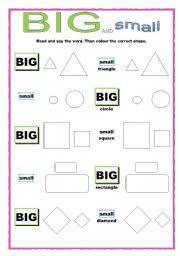 english worksheets big and small shapes