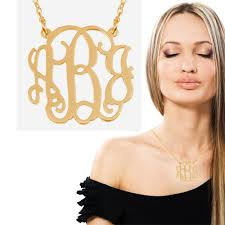 gold plated monogram necklace monogram necklace 1 1 4 inch 18k yellow gold plated on brass 3