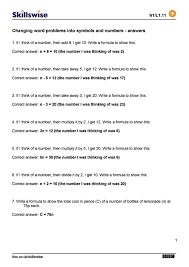 Algebra Word Problems Worksheet Pdf Changing Word Problems Into Symbols And Numbers