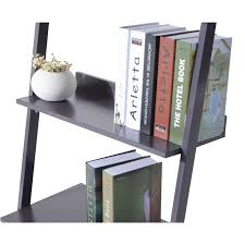 ladder bookshelf bookcase 4 tier leaning wooden wall book magazine