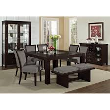 grey dining room chairs decofurnish glass top table with foamy bench and 6 gray upholstered armless chairs in dining room