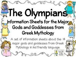 the olympians kid friendly information sheets about the major