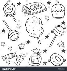 various candy sketch doodle style stock vector 612094109