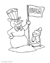 patriotic snowman coloring pages