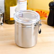 1 56 qt stainless steel ingredient storage canister with clear