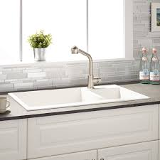 Arvel  Offset DoubleBowl DropIn Granite Composite Sink - White composite kitchen sinks