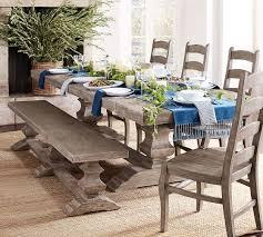 banks extending table u0026 bench dining set gray wash pottery barn