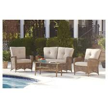 Steel Patio Furniture Sets by Lakewood Ranch 4 Piece Steel Woven Wicker Outdoor Patio Furniture